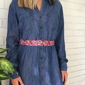 Soft Surroundings Dresses - Soft Surroundings Chambray Denim Tunic Shirt Dress